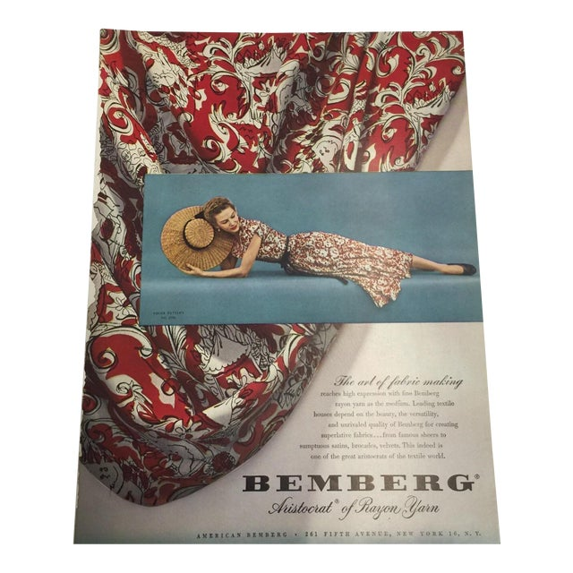 1948 Bemberg Rayon Yarn Ad Print For Sale