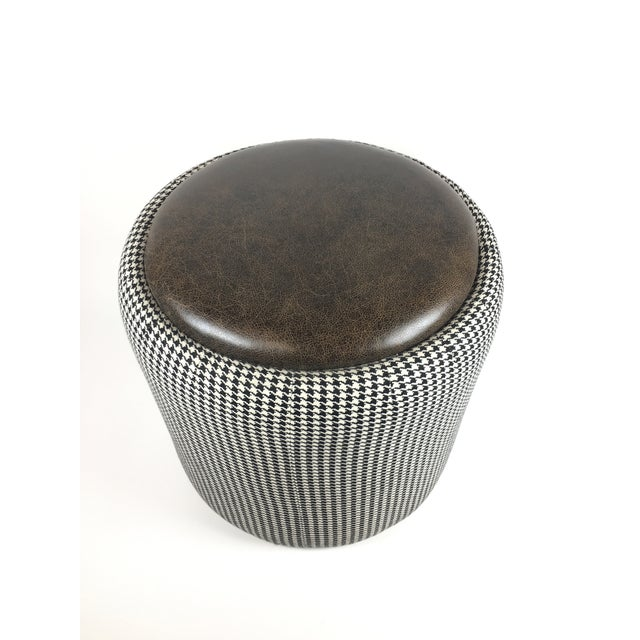 Lily Jack Leather Ottoman With Houndstooth Upholstery.