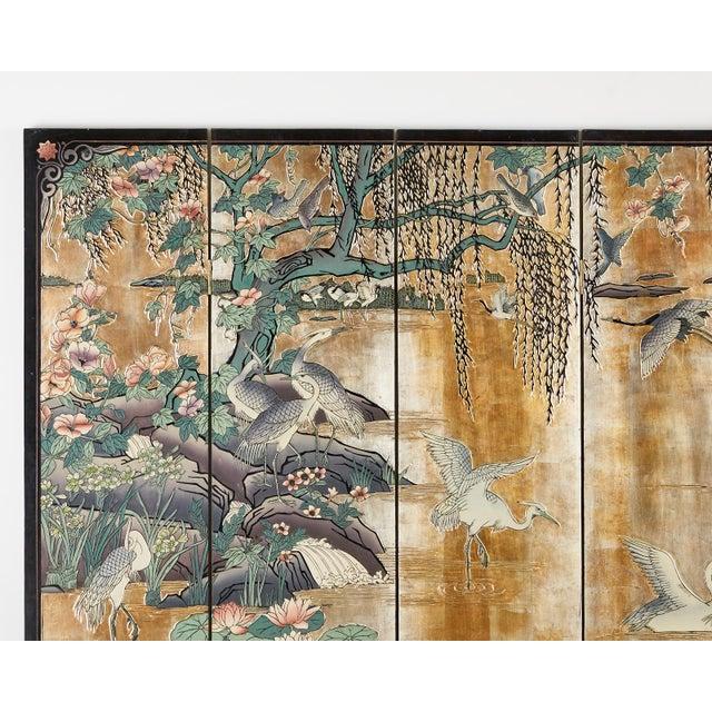 Metal Chinese Export Gilt Coromandel Screen Crane Landscape For Sale - Image 7 of 13