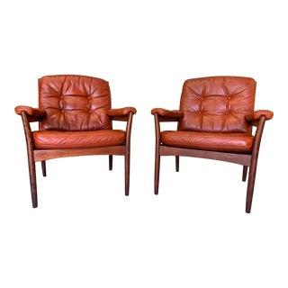 Vintage Göte Möbler Mid-Century British Tan Leather Carmen Armchairs - a Pair For Sale