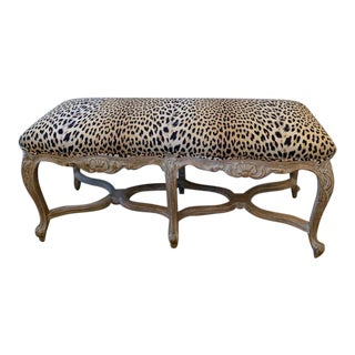 French Louis XVI Style Leopard Bench For Sale