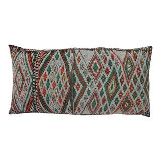 Antique Moroccan Orange & Green Diamonds Berber Pillow For Sale