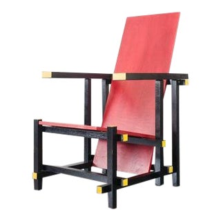 Vintage Mid Century De Stijl Red Chair For Sale