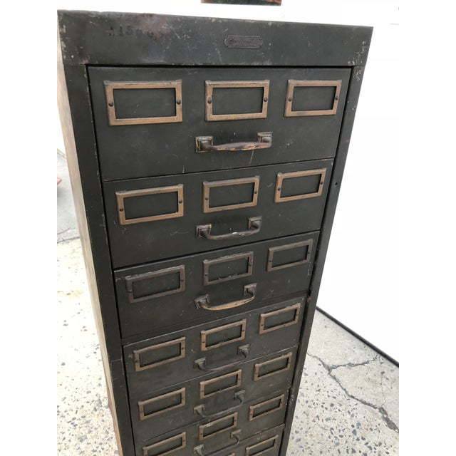 Vintage Industrial Green Steel Filing Cabinet For Sale - Image 10 of 13