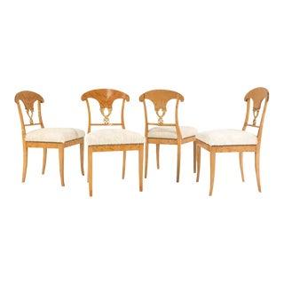 Forsyth One of a Kind Circa 1820 Satin Birch Biedermeier Chairs in Brazilian Cowhide - Set of 4