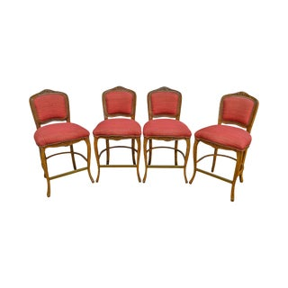 French Louis XV Style Set of 4 Bar Stools by Pama Furniture