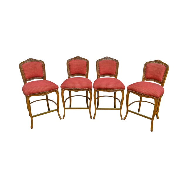 French Louis XV Style Set of 4 Bar Stools by Pama Furniture For Sale