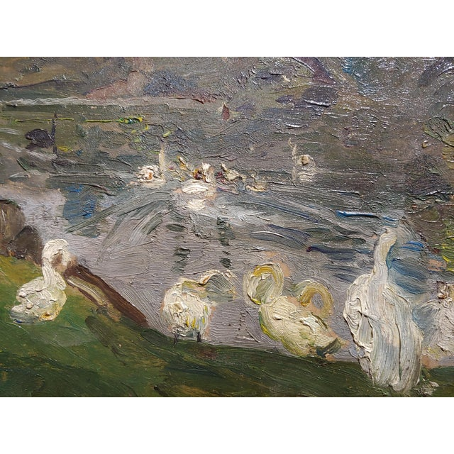 "Antonio Barone ""Duck Pond"" Signed Impressionist Oil Painting C.1910 For Sale - Image 4 of 9"