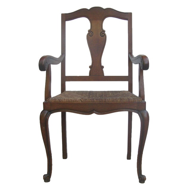 English Arts & Crafts Rush Seat Arm Chair For Sale
