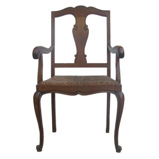 Special Midwest Delivery; English Arts & Crafts Rush Seat Arm Chair For Sale