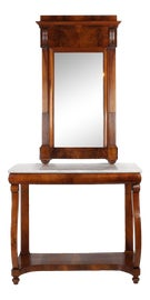 Image of Walnut Console Table With Mirror Set