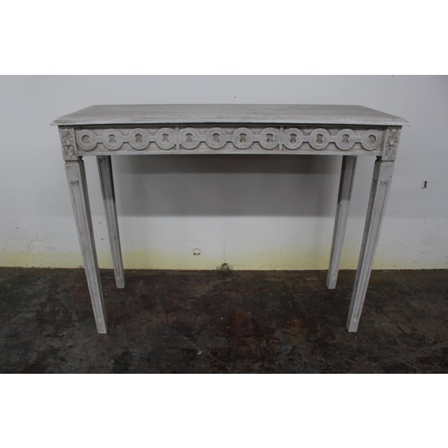 20th Century Vintage Swedish Gustavian Style Console Table For Sale - Image 9 of 9