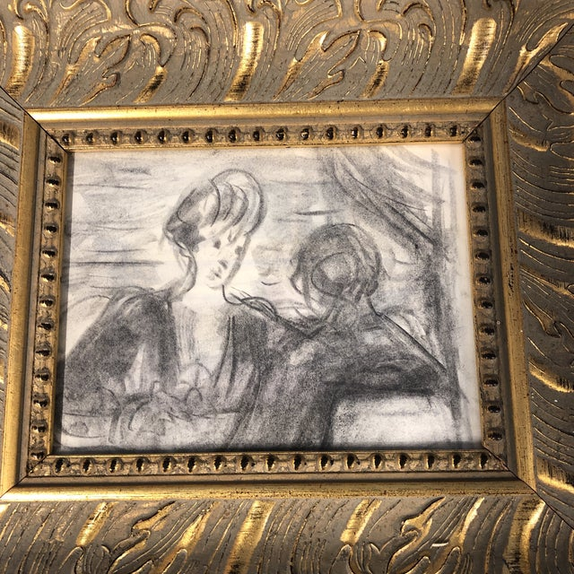 Original drawing on paper Unsigned 6 x 8 Overall size with vintage frame is 12 x 14