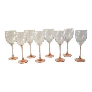 1980s Blush Pink Wine Glasses, Set of 10 For Sale
