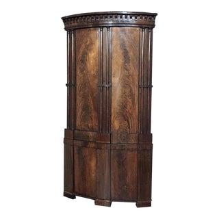 Rare English Regency Period Grand Mahogany Corner Cabinet, London, Circa 1825. For Sale