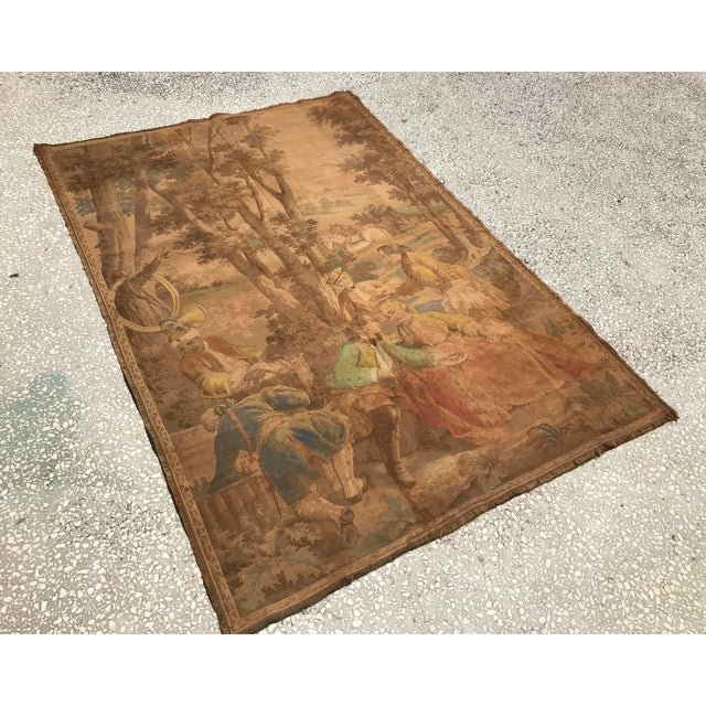 Art Deco Antique Gobelin Wall Art Tapestry For Sale - Image 3 of 8