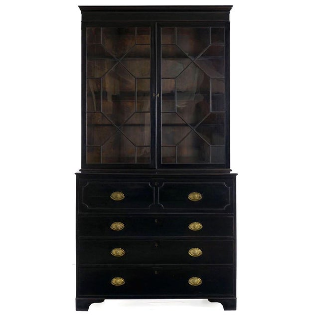 English Georgian Antique Black Butler's Secretary Desk With Bookcase, 19th Century For Sale - Image 13 of 13