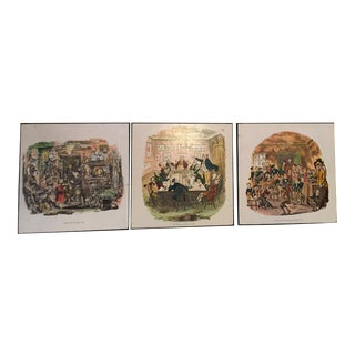 Vintage English Traditional Charles Dickens Pictures From His Classic Stories - Set of 3 For Sale