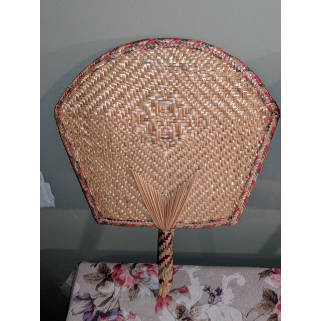 Bamboo Vintage Thai Woven Straw Bamboo Hand Fans - a Pair For Sale - Image 7 of 9