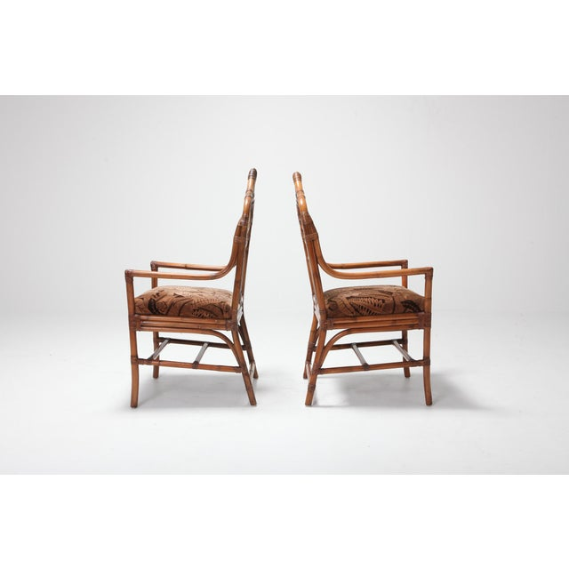 Italian Regency Set of Italian Bamboo Dining Chairs With Floral Cushions For Sale - Image 3 of 13