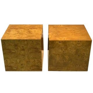 1970s Mid-Century Modern Burl Wood Side Tables - a Pair For Sale
