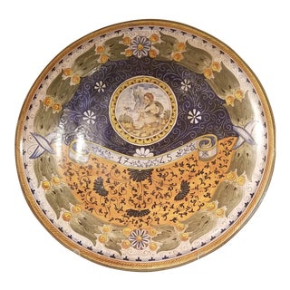 1990s Traditional Majolica Ceramic Wall Plate For Sale