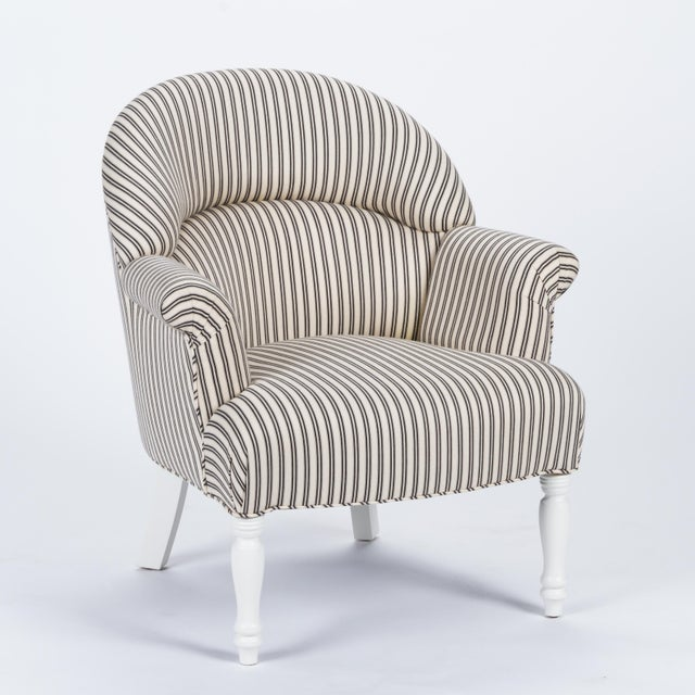 Casa Cosima Casa Cosima Napoleon III Chair in Black and Ivory Ticking, a Pair For Sale - Image 4 of 8