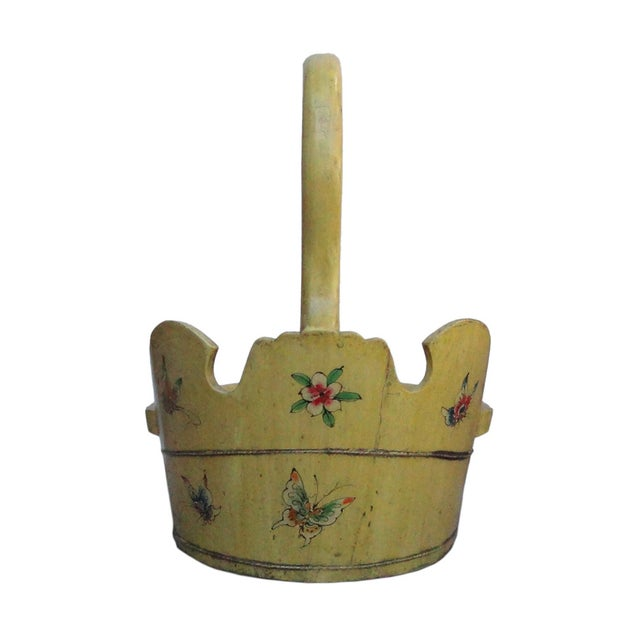Chinese Yellow Flower Duck Shaped Wood Bucket For Sale - Image 4 of 5