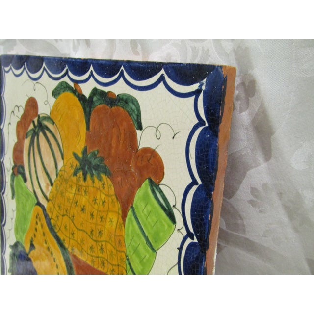 Vintage Hand-Painted Square Fruit Tile - Image 3 of 6
