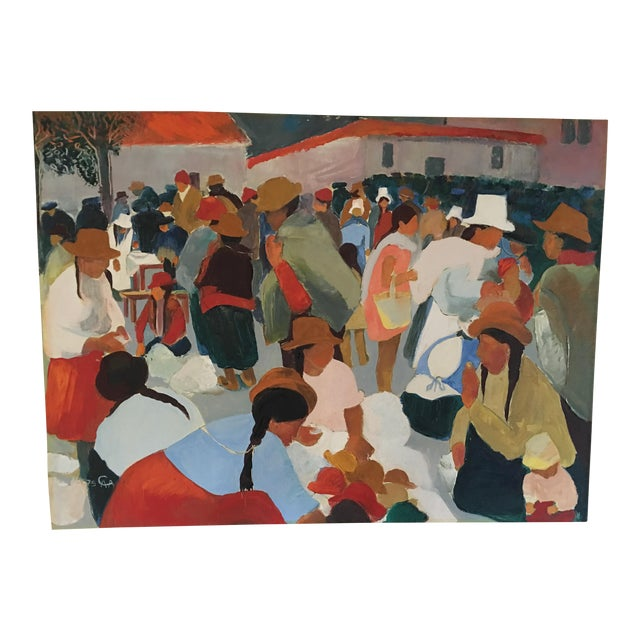 Modern Contemporary Colorful Market Scene Oil Painting - Image 1 of 7