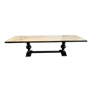 Black Trestle Dining Table With Faux Marble Top For Sale