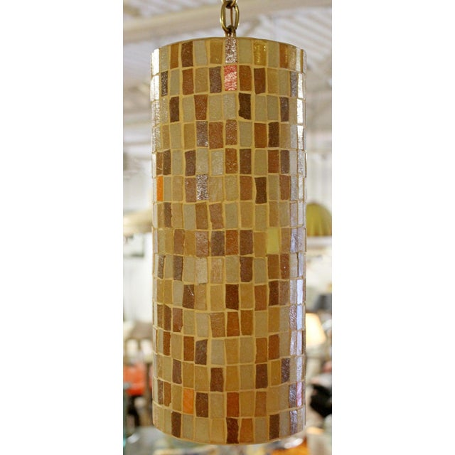 Glass 1960s Mid-Century Modern Italian Murano Glass Tile Pendant Light Fixtures - a Pair For Sale - Image 7 of 9