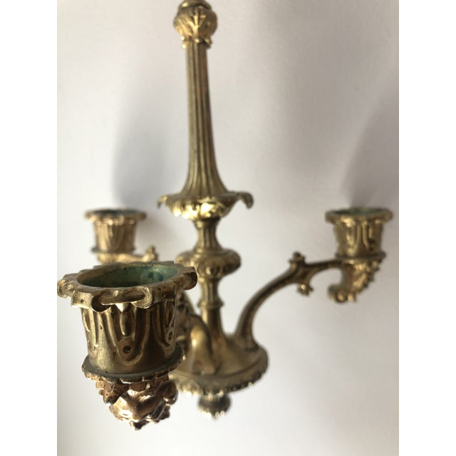 Gold French Regency Gilt Bronze Hanging Candelabra Chandeliers - a Pair For Sale - Image 8 of 9