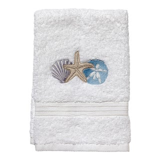 Shell Trio Guest Towel White Terry, Embroidered For Sale