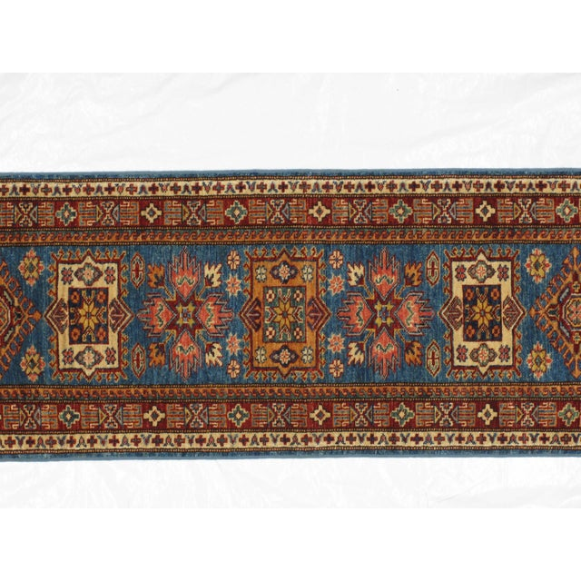 "Islamic Leon Banilivi Royal Blue Super Kazak - 2' X 5'6"" For Sale - Image 3 of 4"