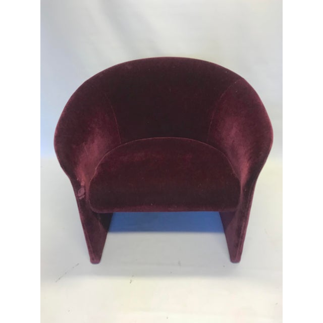 Mohair Dark Plum Mohair Club Chairs by Massimo Vignelli For Sale - Image 7 of 10