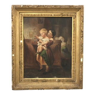 Antique Early 19 C. French Oil on Canvas Painting For Sale