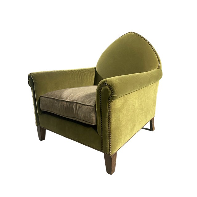 Luxe Green Velvet Gothic Chair With Nailhead Trim and Plaid Seat. For Sale - Image 4 of 7
