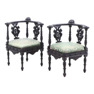 19th Century Italian Renaissance Hand-Carved Upholstered Corner Chairs- A Pair For Sale