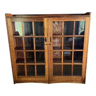 Antique 2 Door Bookcase With Locks & Key For Sale