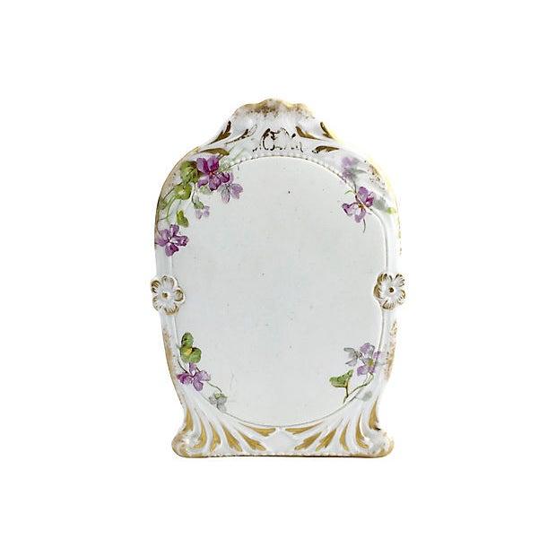 Ceramic Antique Limoges Purple Floral Gilt Menu For Sale - Image 7 of 7