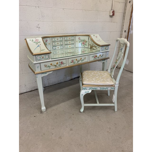 Jasper Cabinet Company Hand Painted Chinoiserie Desk Vanity & Chair For Sale - Image 13 of 13