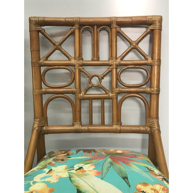 Wood 1960s Rattan Bar Stools With Carved Pineapple Feet - a Pair For Sale - Image 7 of 9