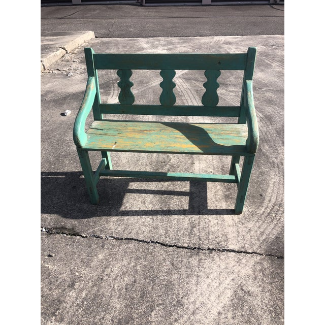 Wood Distressed Turquoise Antique Santa Fe Bench For Sale - Image 7 of 13
