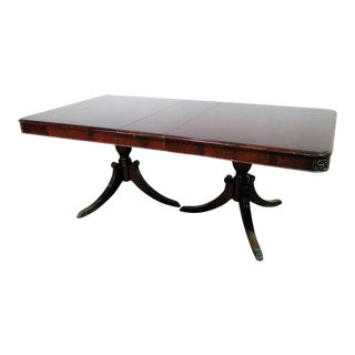 Georgian Style Double Pedestal Mahogany Dining Table For Sale