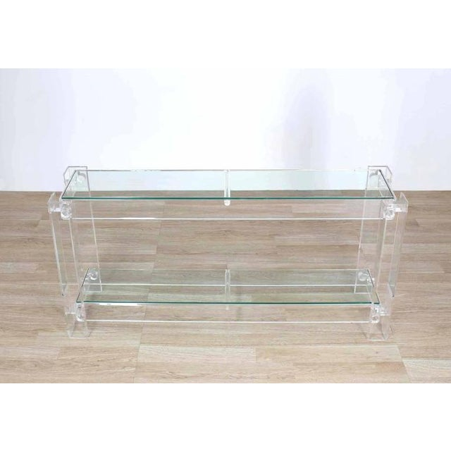 Very nice Mid-Century Modern long rectangle Lucite and glass console table.