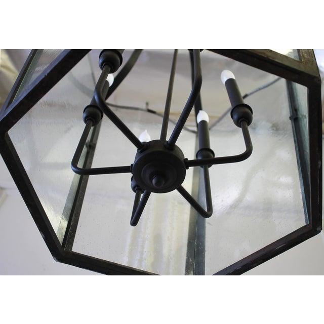 Custom Made Iron Lantern Chandelier For Sale - Image 4 of 12