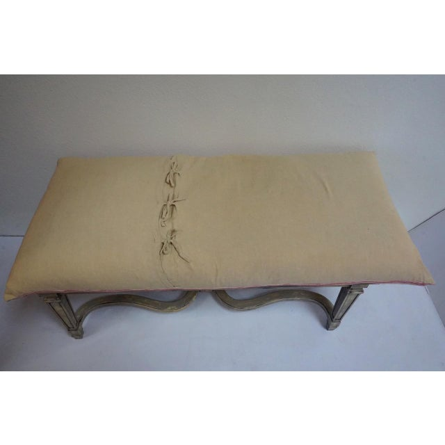 Antique French Painted Caned Bench With Vintage Patchwork Cushion For Sale - Image 4 of 11