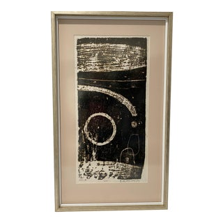 """Mid-Century Modern Space Age Wood-Block Print """"Away From the Earth"""" 2/20 by Chin Sung For Sale"""