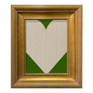 Ron Giusti Mini Heart Kelly Green and Cream Acrylic Painting, Framed For Sale
